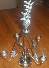 "Yankee Candle Holder Silver 16"" Holds 4 Taper Candles Centerpiece w/ reindeer"