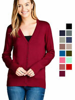 Women's Long Sleeve Button Up Cardigan Sweater Classic V-Neck Rib Banded