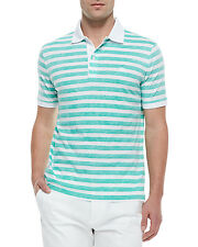 3546 Burberry Brit Mens Green White Soft Knit Cotton Polo Golf Shirt Large $195