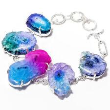 Solar Druzy Gemstone 925 Sterling Silver Handmade Bracelet Jewelry 7-8_P1041