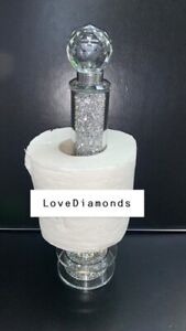 CRUSHED DIAMOND SILVER CRYSTAL TOILET ROLL HOLDER