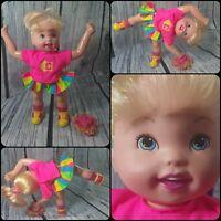 Vintage 1997 Toy Biz Casey Cartwheel Cheerleader with pom poms blonde hair blue