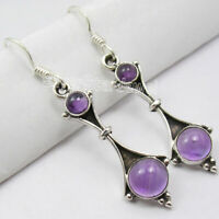 925 Sterling Silver PURPLE AMETHYST 2 CABOCHON Stone New Dangle Earrings 1.8""