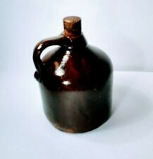 Antique Primitive Brown Liquor Jug Decanter with Cork Stopper 7""
