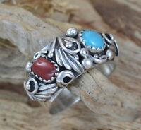 925 Silber Unikat Indianerschmuck Ring Navajo Zuni Ring Koralle Türkis Gr 59