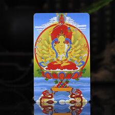 "3.4"" Tibet Tibetan Buddhism Exquisite painting Amulet thangka Cunte Buddha"