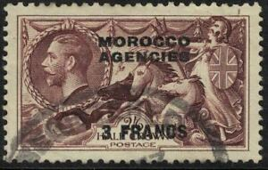morocco agencies - sea horse reingraved 1935 - 3 francs on 2s 6d fine used cv$17