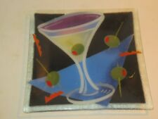 Peggy Karr Fused Glass Square Shallow Bowl With Martini Glass & Olives, Signed