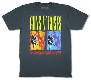 Guns N Roses Use Your Illusion World Tour 1992 Grey T Shirt New Official Reissue