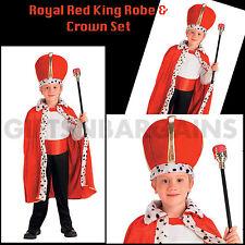 Boys Red Royal King Robe Costume Crown Cape Kids Book Week Medieval Renaissance