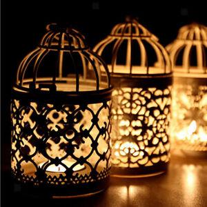 Retro Bird Cage Tea Light Candle Holder Metal Hanging Lantern Wedding Decor