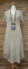 *ZUZA BART*DESIGN 100% PURE LINEN BEAUTIFUL LONG DRESS**NATURAL BEIGE**Size L-XL