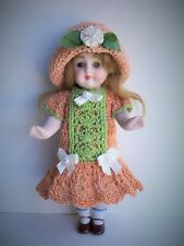 "Handmade Crocheted Dress Set for 6 1/2"" Antique German French All Bisque Doll"