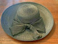 SAKS FIFTH AVENUE 100% Straw Wide Brim Hat w/ Black Bow, Made in ITALY