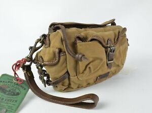 Polo Ralph Lauren Rugged Canvas-Leather Outdoor Travel Kit Toiletry Bag Wristlet