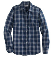 Womens J Crew Boy Shirt In Indigo Plaid Blue Size 10