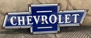 """Vintage """"Chevrolet"""" Bowtie Porcelain Enamel Sign 27""""x9"""""""