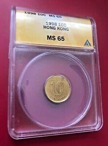 1998 10 CENTS Hong Kong ANACS MS 65