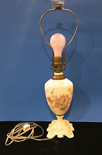 Antique Milk White Lamp with Hand Painted Flowers - Raised Details