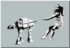 "BANKSY STREET ART CANVAS PRINT Girl with pet Imperial Walker 24""X 16"" poster"