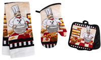 CHEF THEMED KITCHEN SET ~ 1 KITCHEN TOWEL, 2 POT HOLDERS, & 1 OVEN MITT