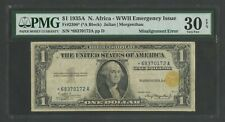 FR2306* $1 NO. AFRICA 1935A STAR NOTE PMG 30 EPQ SEAL MISALIGNED ERROR WLN79