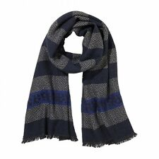 AIGNER Made in Italy 100% wool logo scarf sciarpa unisex pura lana a righe BNWT