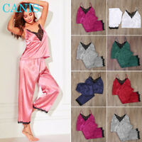 Sexy Women Satin Silk Sleepwear Lace V Neck Top + Long Pants Pyjamas Nightgown