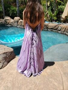 Maya Antonia Tie-Dye Lilac-Purple Stunning Halter Flowy Maxi Dress, Beach, Plus