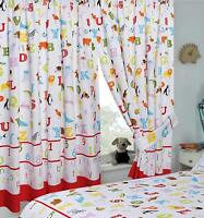 """Kids ABC Alphabet Numbers Animals Ready Made Pencil Pleat  66"""" x 54"""" Curtains"""