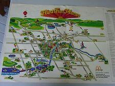 Circa 1980 Ronald McDonald Fun Places Art Map Flint, Mi and Neighboring towns
