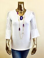 CHICO'S $96 NWT TRAVELERS WHITE CROCHET TRIM  3/4 BELL SLV TUNIC TOP SIZE 0 (S)