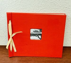 """NEW Photo Album Ribbon Large Red Photographs Yellow 12""""x12"""" Pages"""