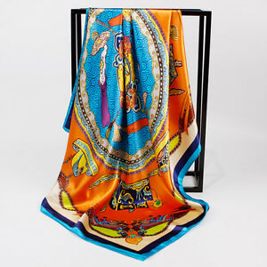 "Women's Fashion Print Yellow Square Scarf Soft Satin Shawl Hijab Wraps 35""*35"""