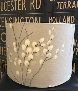 LAURA ASHLEY PUSSY WILLOW FABRIC NEW HANDMADE LAMPSHADE  STEEL GREY