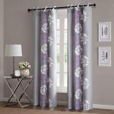 "Set of 2 Purple Gray Floral Curtains Modern Cotton Grommet Panels Drapes 84"""
