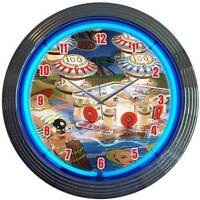 Old style Pinball Machine arcade game room new blue neon clock  Free Fast Ship