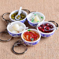 Funny Simulation Food Delicious Noodles Porcelain Bowl Keyring Keychain Gifts