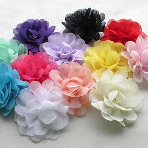 12PCS Large 6CM Organza Ribbon Bows Flowers Appliques Wedding A0416