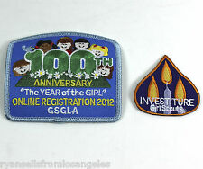 Lot of Two GSA Girl Scouts Patches - 100th GSGLA, Investiture