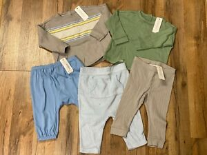 Gymboree Baby Boy Layette Lot of 5 Pieces Gray Green Blue White 6-12  Months NWT
