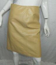 Rem Garson Skirt 100% Leather Beige Nude Brown Pencil Skirt Size 6