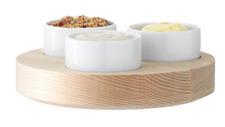 LSA Lotta Ash Base Condiment Set 3 Pots Diameter 17cm - New