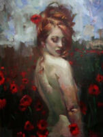 ZOPT674 hand abstract naked girl in the flower land art OIL PAINTING on CANVAS