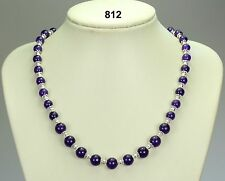 "Russucan amethyst natural purple stone bead necklace, silver spacers 19.5""+2"
