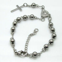 Stainless Steel Bead Bracelet With Cross Pendant Jesus Rosary Bracelet Top