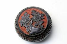 SMALL CHINESE FLOWER CARVED CINNABAR RED BLACK LACQUER ENAMEL TRINKET JAR BOX