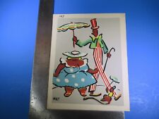 Vintage May Colorful Tall Clown Holding Umbrella #187 Pressed Image S5323