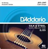 D'Addario EJ35 Silk & Steel Acoustic Folk Guitar Strings 12-string set 11-47