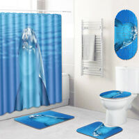 Dolphin Bathroom Rug Set Shower Curtain Bath Mat Toilet Seat Cover Shower Mat